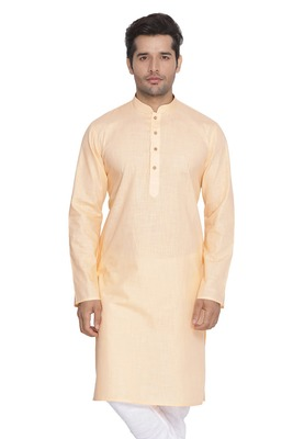 Fawn Plain Cotton Men Kurtas