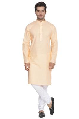 Fawn Plain Cotton Kurta Pajama