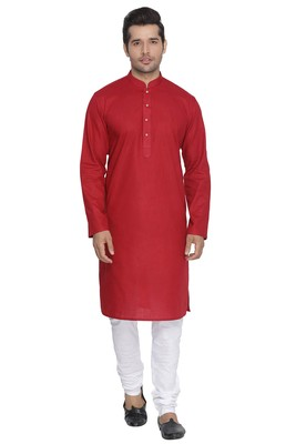 Maroon plain cotton kurta-pajama