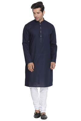 Blue Plain Cotton Kurta-Pajama