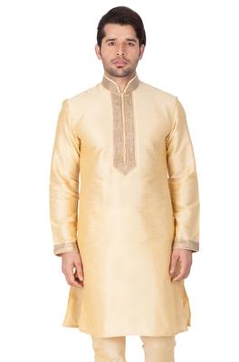 Gold Plain Cotton Silk Men-Kurtas