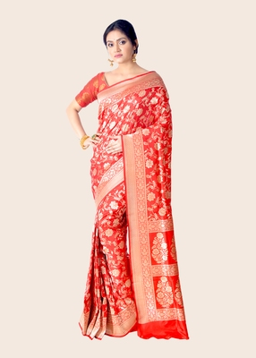 Red hand woven pure katan silk saree with blouse