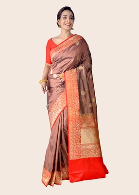 Multicolor hand woven pure katan silk saree with blouse