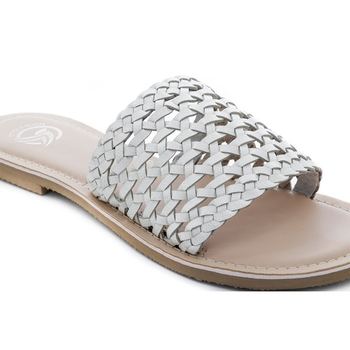 Trends & Trades Womens Hand-Woven Laser Cut Genuine White Leather Flats