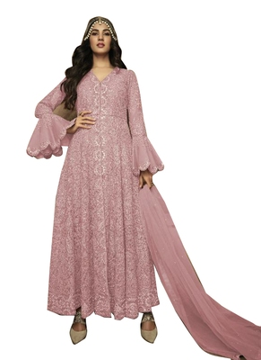 Peach Embroidered Net Salwar