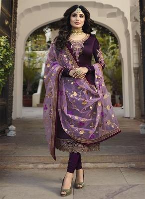 Purple embroidered satin salwar