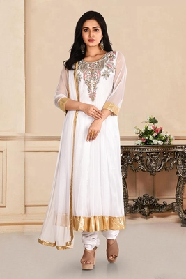 White embroidered net salwar