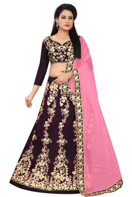 Purple Embroidered Art Silk Semi Stitched Lehenga