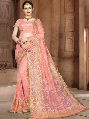 Peach Embroidered Net Saree With Blouse