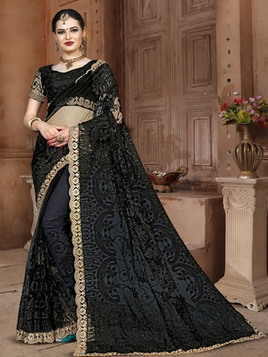 Black Embroidered Net Saree With Blouse