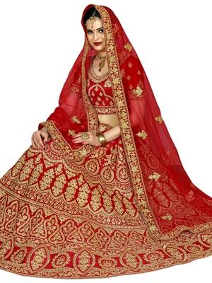 Red Color SILK Embroidered Semi-Stitched Lehenga Choli