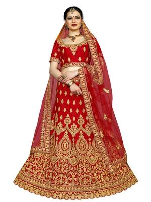 Red Color Silk Embroidered Semi Stitched Lehenga Choli