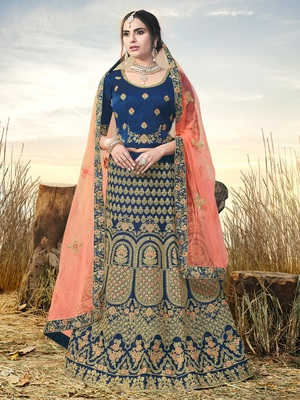 Blue Color Naylon Satin Embroidered Semi Stitched Lehenga Choli