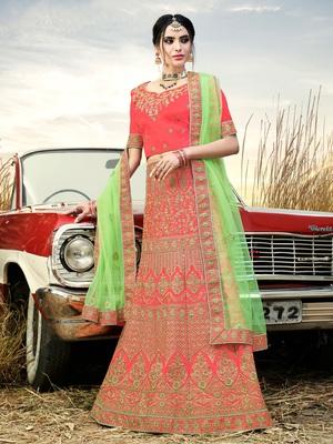 Gajari Color Naylon Satin Embroidered Semi Stitched Lehenga Choli