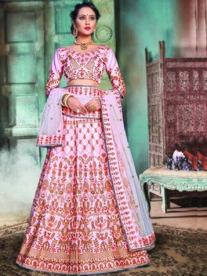 Pink Color Naylon Satin Embroidered Semi-stitched Lehenga Choli