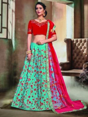 Turquoise Color Naylon Satin Embroidered Semi Stitched Lehenga Choli