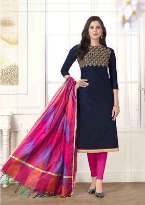 Blue Cotton Embroidered Unstitched salwar with dupatta
