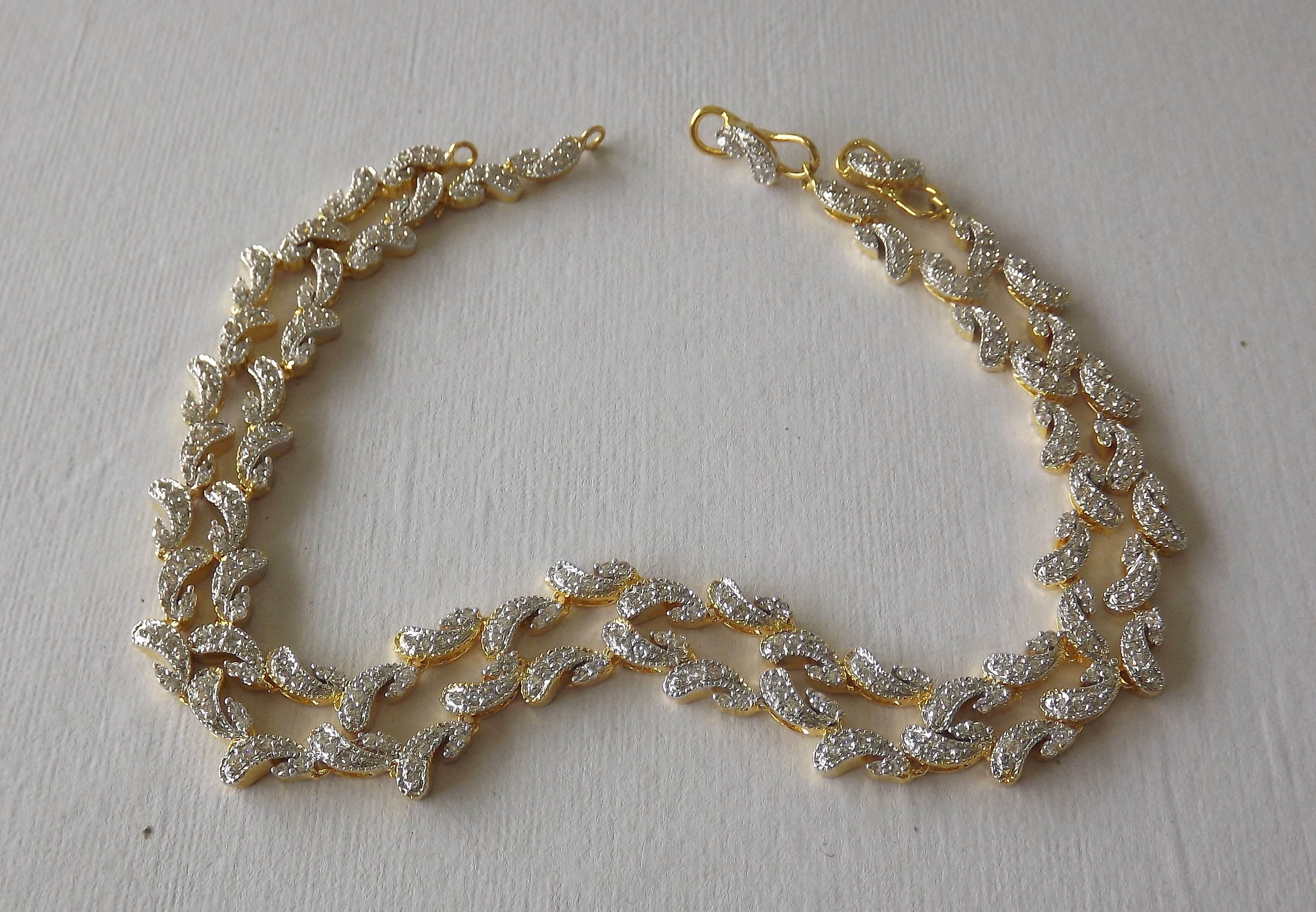 gold anklet product lazo diamond embelish white amble
