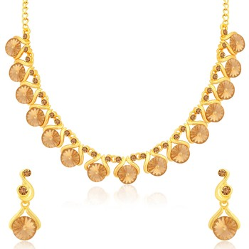 Brown crystal necklace-sets