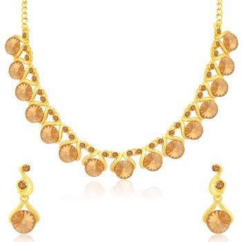Brown crystal necklace-sets