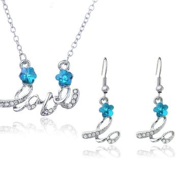 Blue crystal necklace-sets