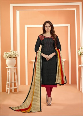 Black Bombay Cotton Embroidered Unstitched salwar with dupatta