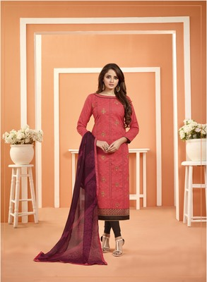 Pink Bombay Cotton Embroidered Unstitched salwar with dupatta