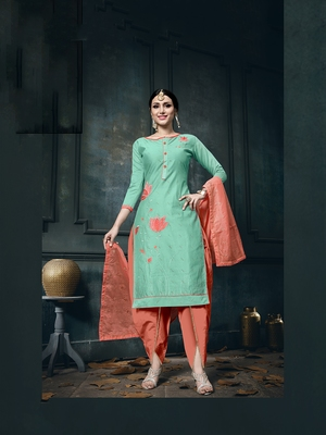 Teal-blue zari woven cotton salwar