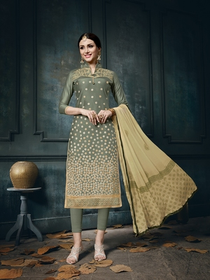 Green zari woven cotton salwar