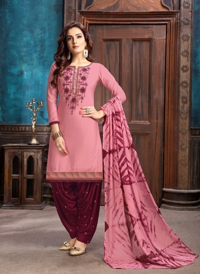 Light pink embroidered cotton salwar