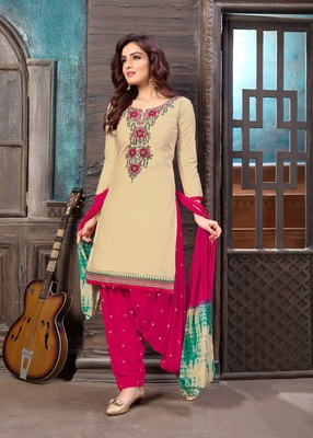 Off-white embroidered cotton salwar