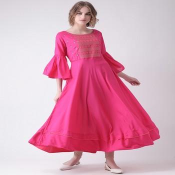 Pink Embroidered Cotton stitched kurti