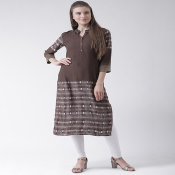 Brown Printed Rayon stitched kurti