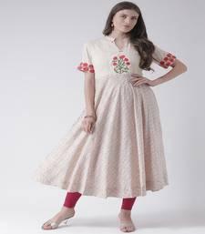 Beige Embroidered Cotton stitched kurti