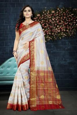 White Printed Faux Kanjivaram Silk Saree With Blouse