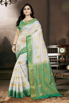 White printed faux kanjivaram silk saree with blouse