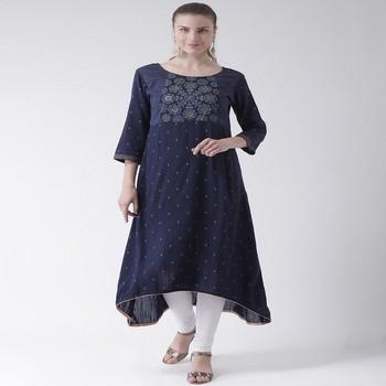 Blue Printed Cotton stitched kurti