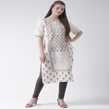 White Printed Cotton stitched kurti