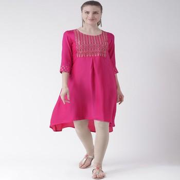 Pink Embroidered art silk stitched kurti