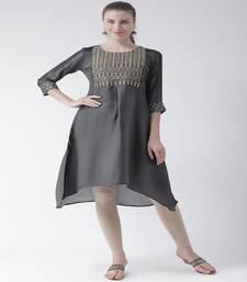 Grey Embroidered art silk stitched kurti
