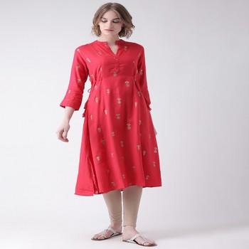 Pink Printed Rayon stitched kurti