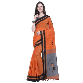 orange printed linen saree with blouse