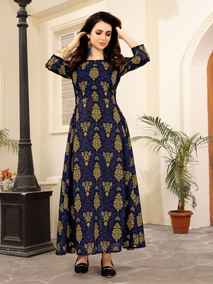 Multicolor printed linen long kurtis