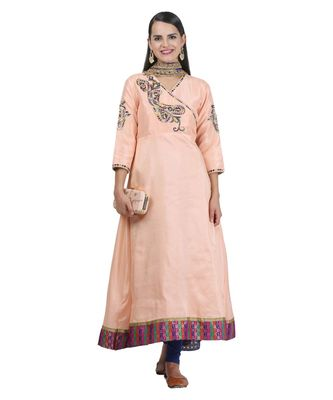 Peach Embroidered Dupion Readymade Suits
