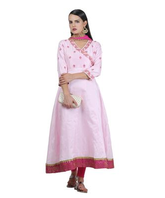 pink embroidered dupion readymade suits