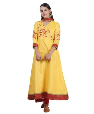 Yellow Embroidered Dupion Readymade Suits