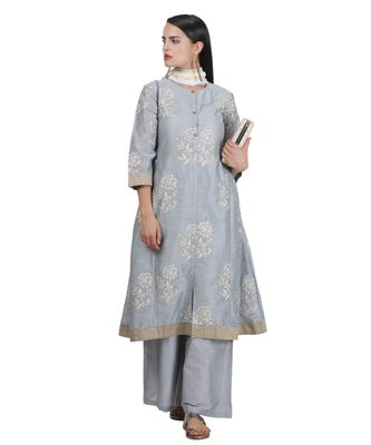 Grey Embroidered Cotton Readymade Suits