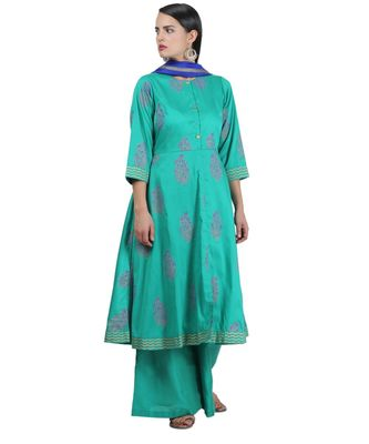 Green Embroidered Cotton Readymade Suits
