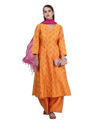 Yellow Embroidered Cotton Readymade Suits