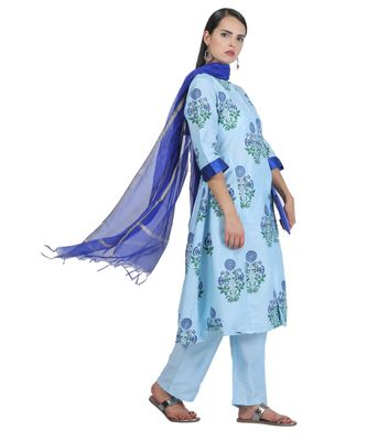 Turquoise Embroidered Cotton Readymade Suits